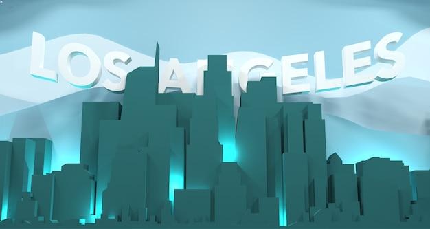 Paesaggio urbano di los angeles con formulazione, rendering 3d