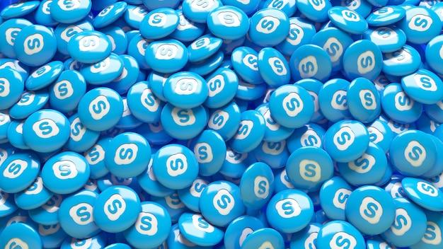 Un sacco di pillole lucide skype 3d in una vista ravvicinata