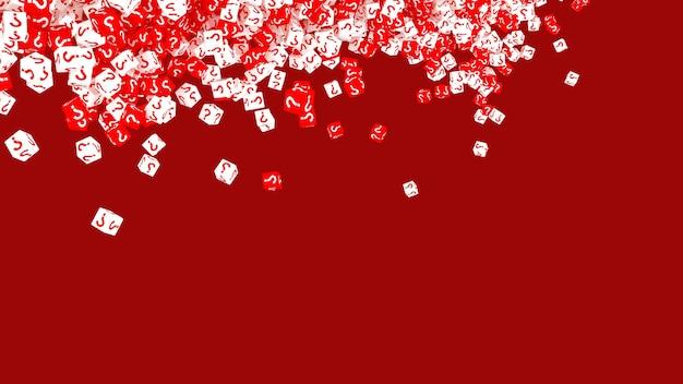 Molti cubi che cadono con punti interrogativi. illustrazione 3d
