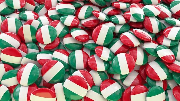 Molte pillole con la bandiera italiana