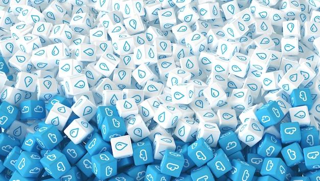 Molti cubi sparsi con l'immagine di gocce di pioggia e nuvole. illustrazione 3d