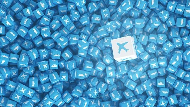 Molti cubi sparsi con loghi di diversi tipi di trasporto. illustrazione 3d