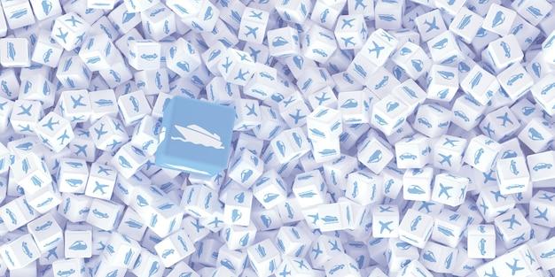 Un sacco di cubi sparsi con loghi di diversi tipi di trasporto. illustrazione 3d