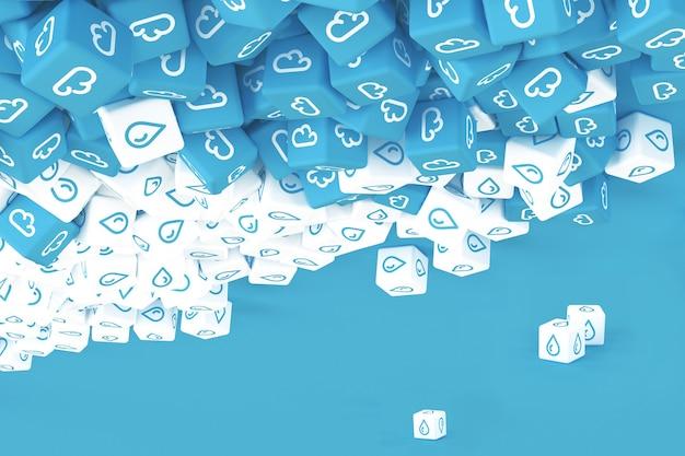 Molti cubi con icone di pioggia sparse su sfondo blu. illustrazione 3d
