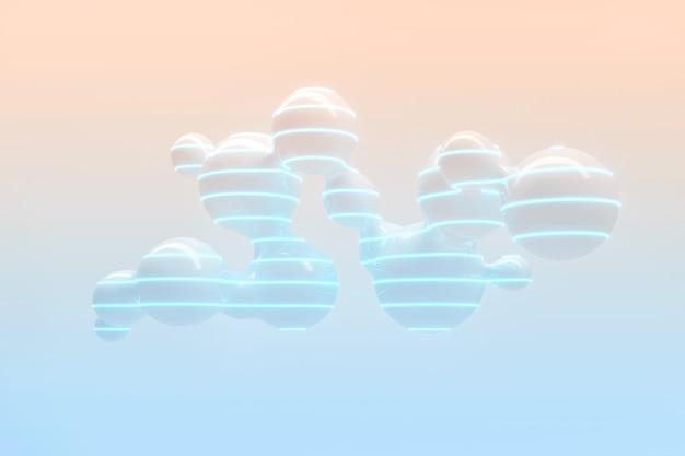 Un sacco di gocce volanti e di separazione su uno sfondo chiaro con illustrazione 3d di illuminazione al neon