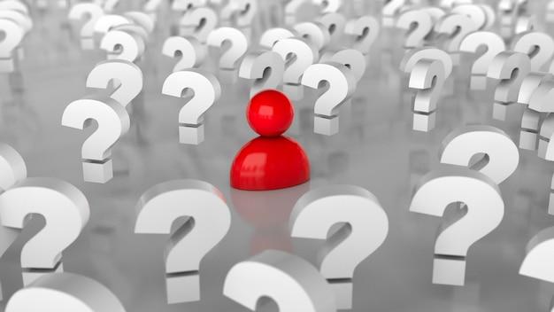 Molti punti interrogativi e una persona. molte domande o alla ricerca di una soluzione. rendering 3d.
