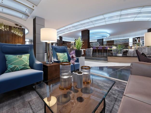 Area lounge di un hotel, lobby di design. rendering 3d