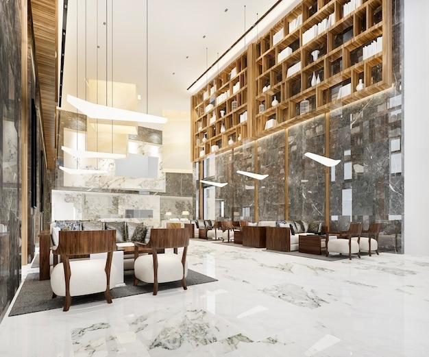 Area della lobby lounge con bancone e libreria