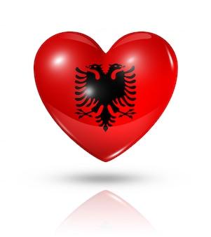 Icona di bandiera del cuore di amore albania