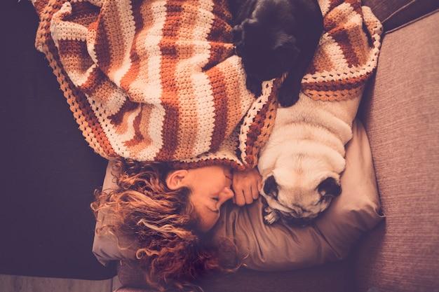 Concetto d'amore con animali da cane e persone: una bella donna dolce dorme a casa sul divano con i suoi due adorabili carlini migliori amici vicino a lei per fingere e godersi l'amicizia concetto di pet therapy