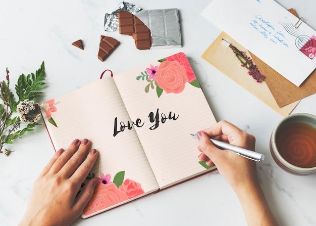Amore amore affetto flower boarder card concept Foto Premium