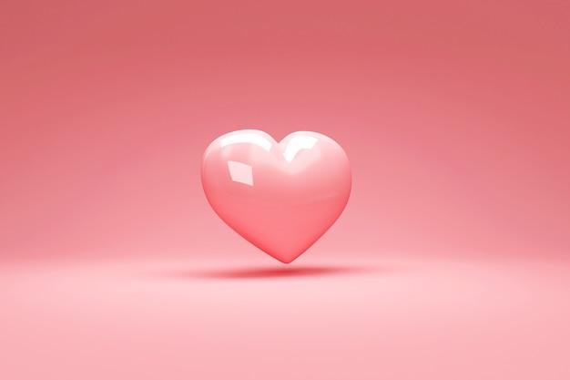 Amore cuore su sfondo rosa studio