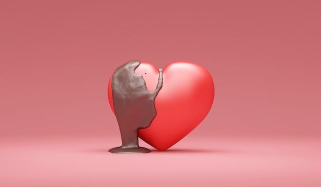 Love heart versato con cioccolato al latte sul rosa