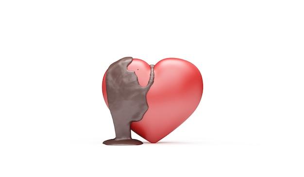 Amore cuore versato con cioccolato al latte su sfondo bianco