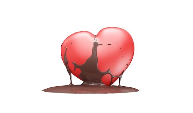 Love heart versato con cioccolato al latte su bianco Foto Premium