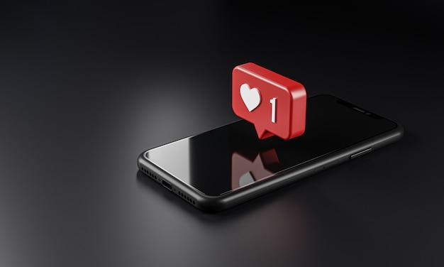 Icona di logo di notifica di amore sopra smartphone, rendering 3d
