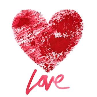 Amore. cuore stencil rosso con scritte isolate su sfondo bianco