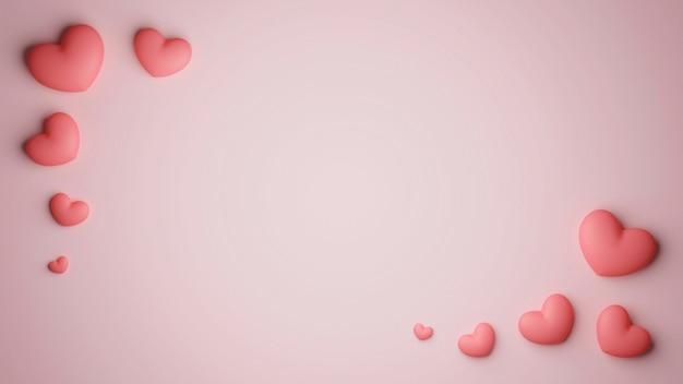 Amore sfondo romantico il giorno di san valentino. vista dall'alto di decorazione romantica con cuori in rosa.