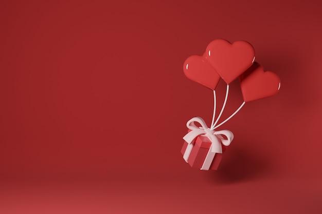 Un palloncino a forma di amore tira sulla confezione regalo san valentino concept design - 3d rendering