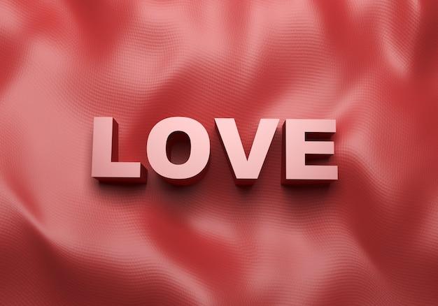 Testo d'amore su un panno di seta rosso