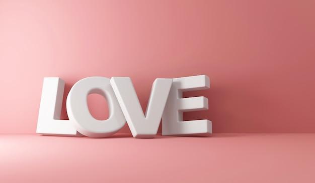 Amore segno di testo su sfondo rosa studio