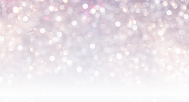 Incantevoli luci bokeh natalizie invernali, glitter argento, luci natalizie