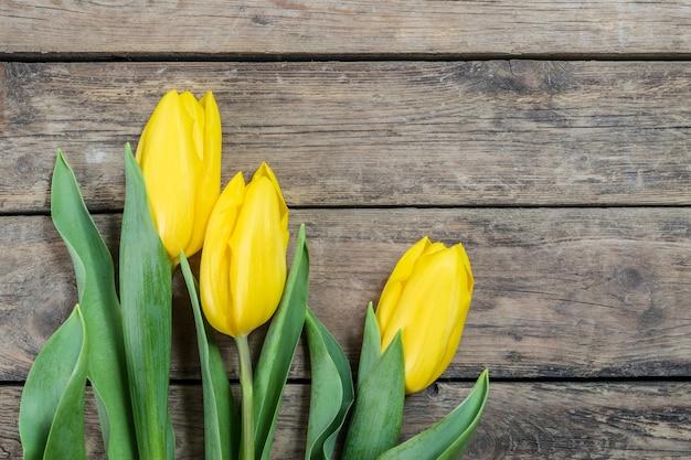 Bei fiori del tulipano su fondo di legno, cartolina di festa