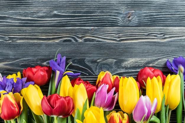 Fiori adorabili del tulipano sulla parete di legno