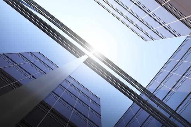 Vista ad angolo basso dell'architettura futuristica, grattacielo dell'edificio per uffici aziendali, rendering 3d.