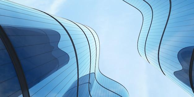 Vista ad angolo basso dell'architettura futuristica, grattacielo di un edificio per uffici con finestra in vetro curva, rendering 3d.