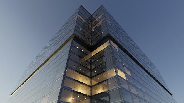 Inquadratura dal basso di grattacieli generici di uffici moderni, edifici alti con facciate in vetro. concetti di finanze e background economico. rendering 3d.