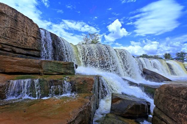 Colpo di cascata ad angolo basso con cielo blu