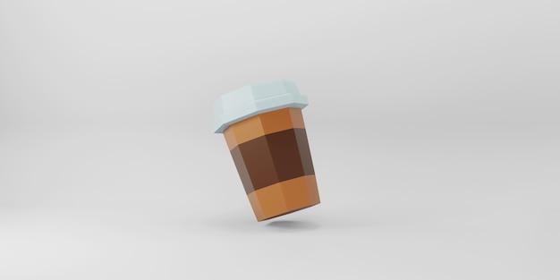Tazza di caffè low poly su sfondo bianco.