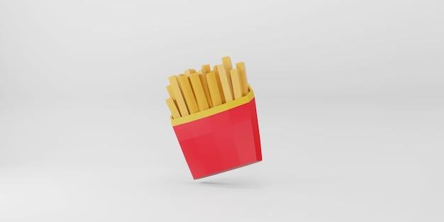 Low poly patatine fritte su sfondo bianco.