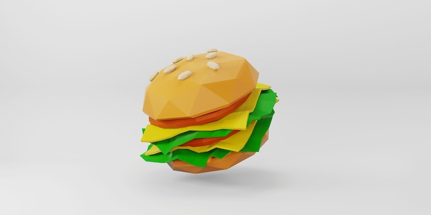 Hamburger low poly su sfondo bianco.