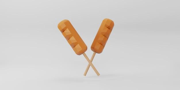 Low poly hot dog su sfondo bianco.