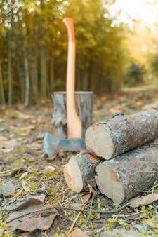 Ascia da boscaiolo con sfondo autunnale in legno di pino