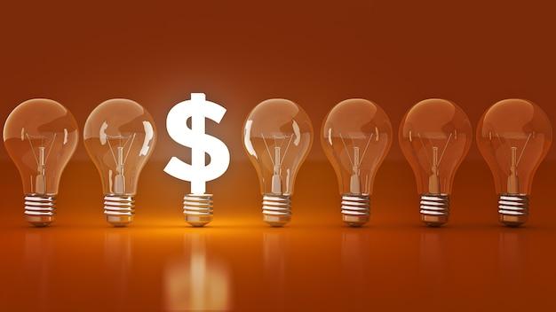 Simbolo del dollaro luminoso con lampadine che rendono 3d