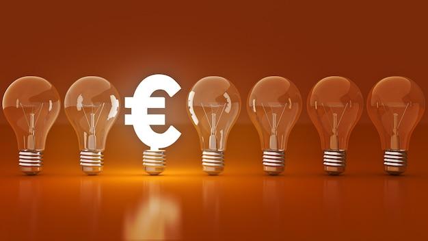 Insegna luminosa euro con lampadine rendering 3d