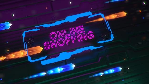 Un segno luminoso di tecnologia con la scritta shopping online