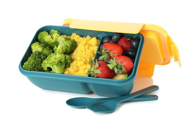 Lunch box con cibo isolato su sfondo bianco
