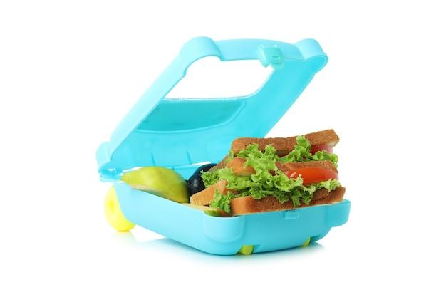 Lunch box con cibo gustoso isolato su sfondo bianco