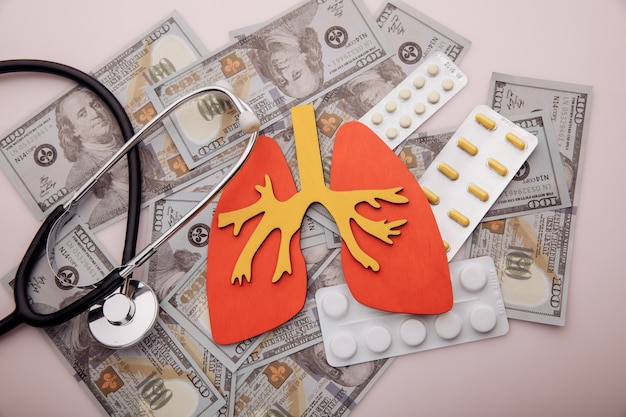 Modello di concetto di trattamento di malattie polmonari di organo denaro e pillole vista dall'alto