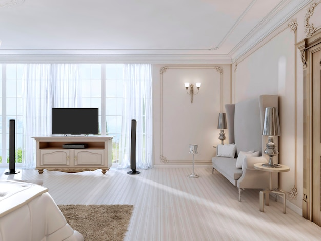 Lussuosa camera da letto con un grande divano e mobile tv la grande finestra. rendering 3d.