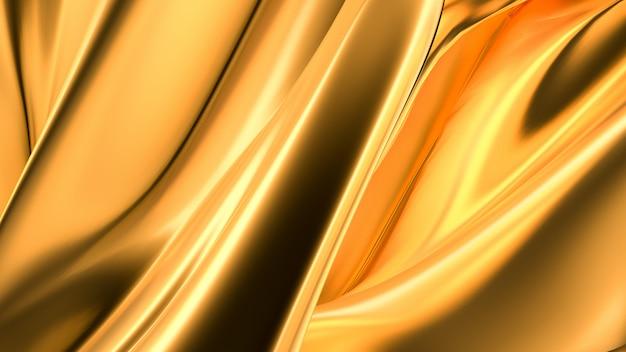 Lussuoso sfondo dorato con drappeggi in raso. rendering 3d.