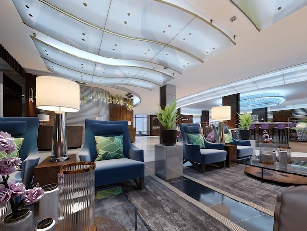 Lussuosa area lounge di interior design dell'hotel di lusso a cinque stelle. interior design. rendering 3d