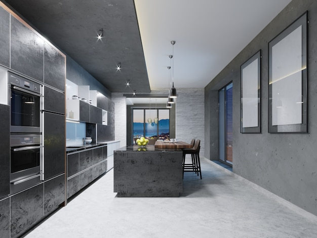 Lussuosa cucina con elettrodomestici in acciaio inossidabile in un palazzo contemporaneo. rendering 3d