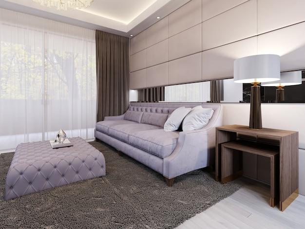 Lussuoso divano imbottito trapuntato con morbido portariviste e tavolino laterale con lampada. soggiorno moderno in stile art déco. ampia finestra panoramica con tenda. rendering 3d.