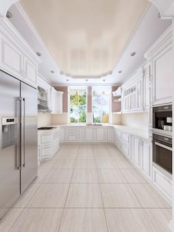 Lussuosa cucina bianca in stile classico con elettrodomestici da incasso e ampia finestra. rendering 3d