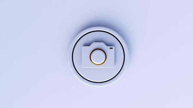 Icona della fotocamera 3d di lusso con sfondo bianco